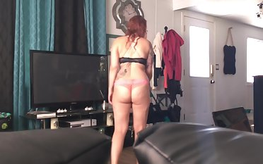 Teen Roommate SPIED Purifying the house in Bra and Panties (AMAZING ASS)
