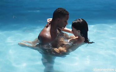Horny MILF Gina Ferocious pounded by a big black locate by the pool
