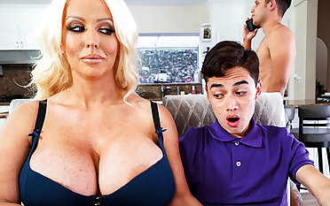 Busty stepmom interested to taste schoolboy's locate