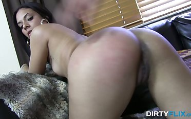 Long haired brunette Coco Valentina lies on body side and gets poked