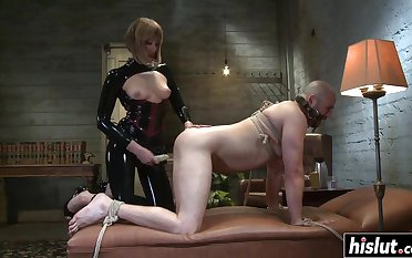 Madeline fucks a guy relating to a strap-on before she starts riding his gouge out - bondage