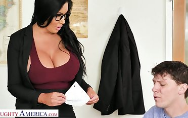 More than simply appetizing jumbo breasted MILFie tutor Sybil Stallone gives titjob