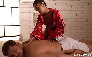 Traditional Thai palpate by sexually charged masseuse there stunning synod May Thai