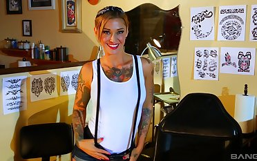 Tattooed hottie Kleio Valentien enjoys hard sex games with her friend