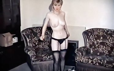 HANGING ON - vintage British stockings dance tease