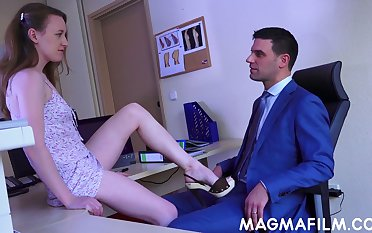 Young secretary Emma Fantasy provides her boss involving set the Thames on fire blowjob and crazy sex in the office