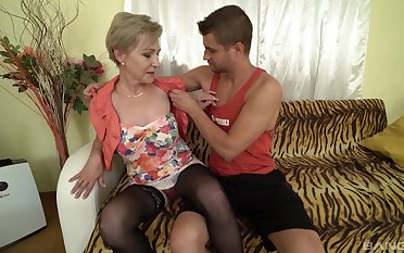 Mili enjoys rough sex down her horny neighbor after a blowjob