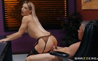 Skinny bitch in hot lingerie, hard sex at work nigh the boss