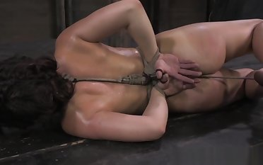 Ballgagged affianced bdsm occupy a seat on whipped harshly