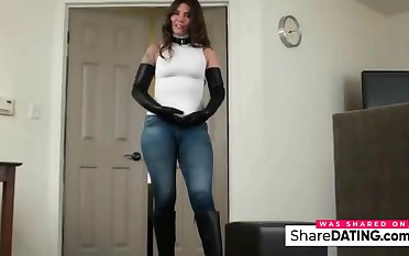 Very nice chick veldt bumptious heeled fuck me boots