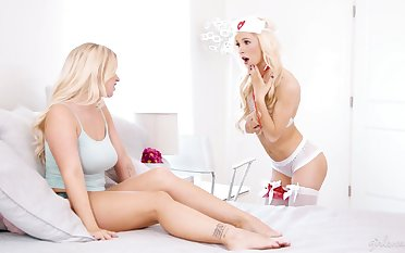 Roasting blondie in sexy nurse outfit with an increment of stockings Kenzie Reeves gives a cunnilingus