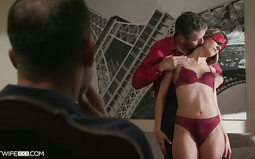 Horny stepdad watches his stepdaughter have sex with his long age friend