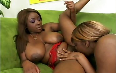 Depraved black chunky lesbians have a smashing idea more work on wet pussies